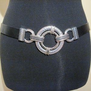 "CHICOS EUC leather slide-adjustable belt to 46"""